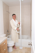Security Pole & Curve Grab Bar - White